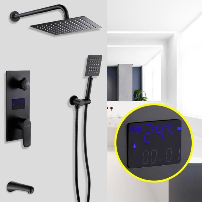 Colonne de Douche Encastrée avec l'Écran Digital LCD Système Douche Murale - Noir
