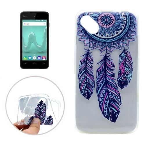 Wiko sunny coque protection tpu transparent plumes bleu for Wiko sunny coque