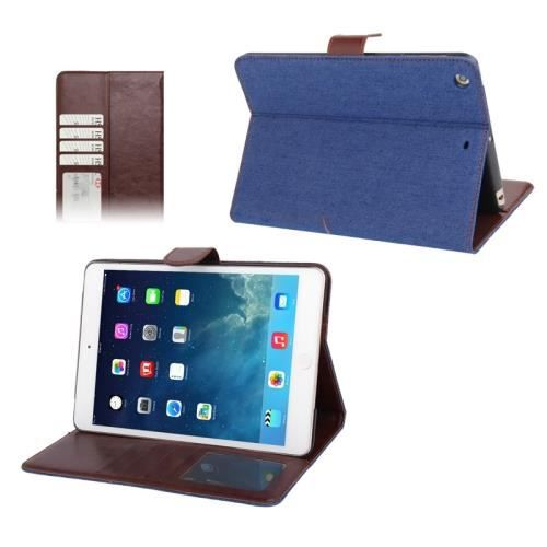 ipad mini ipad mini 2 retina coque housse de protection en cuir pu bleu texture tissus. Black Bedroom Furniture Sets. Home Design Ideas