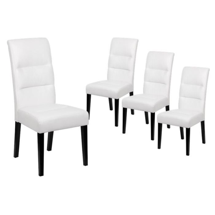 daphn lot 4 chaises blanches achat vente chaise polyur thane cuir pin massif cdiscount. Black Bedroom Furniture Sets. Home Design Ideas