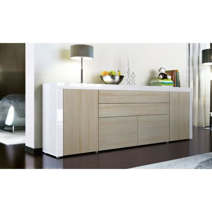 buffet enfilade blanc et bois brut 200 cm achat vente buffet bahut buffet enfilade cdiscount. Black Bedroom Furniture Sets. Home Design Ideas