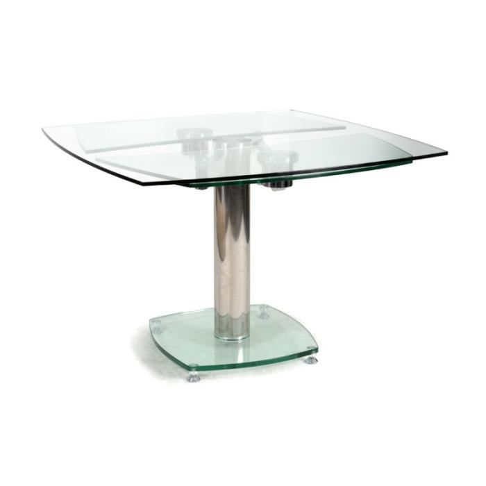 Table Carree Avec Allonges Plateau Verre Transparent Contempo