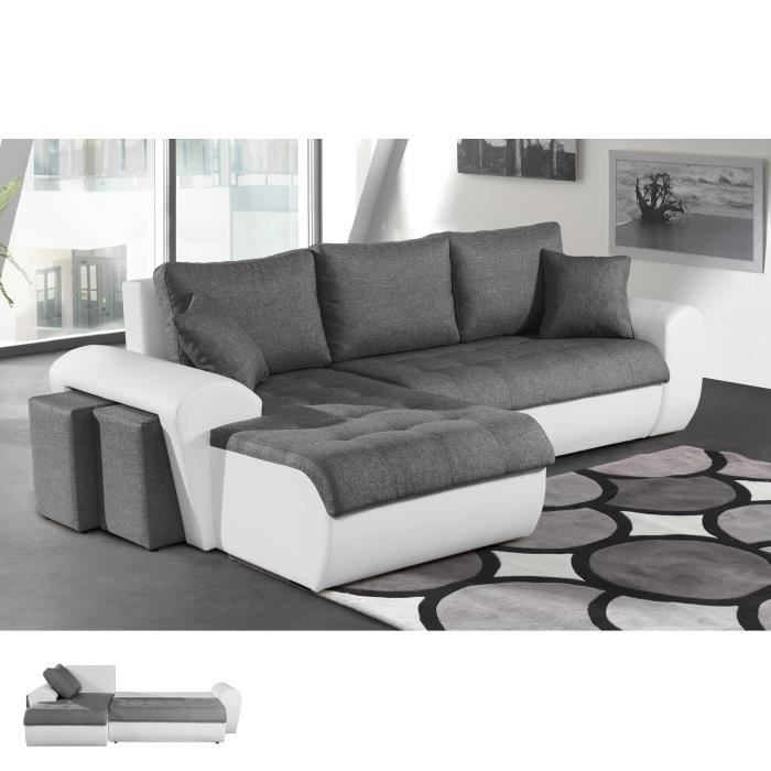 canap d 39 angle convertible gauche gris et pvc blanc lizon achat vente canap sofa. Black Bedroom Furniture Sets. Home Design Ideas