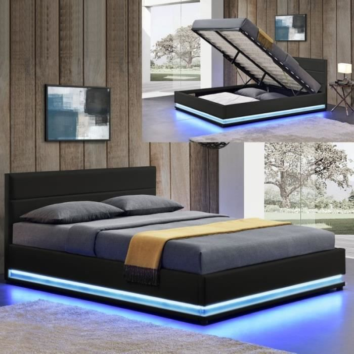 lit led avec coffre de rangement ava 140x190 noir achat vente ensemble literie soldes. Black Bedroom Furniture Sets. Home Design Ideas