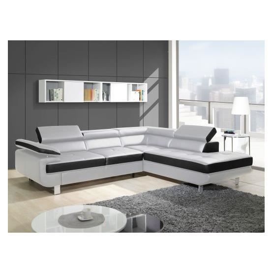 canap angle convertible studio blanc noir droit achat vente canap sofa divan pu bois. Black Bedroom Furniture Sets. Home Design Ideas