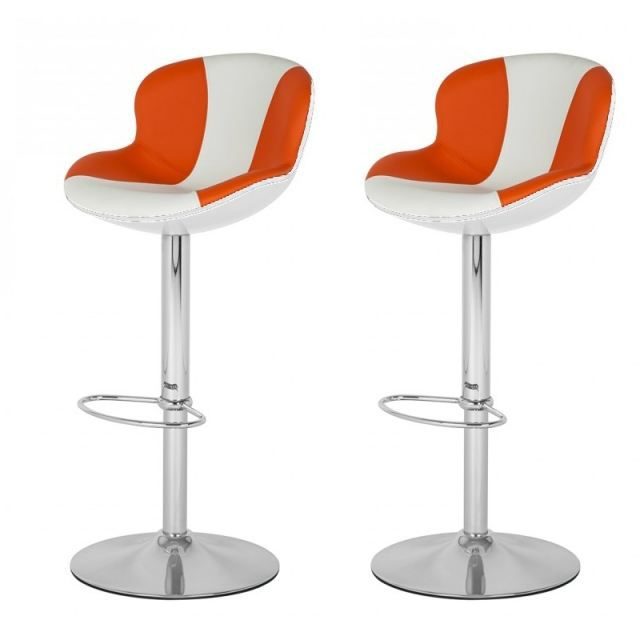 tabouret de bar blanc orange x2 golf achat vente. Black Bedroom Furniture Sets. Home Design Ideas