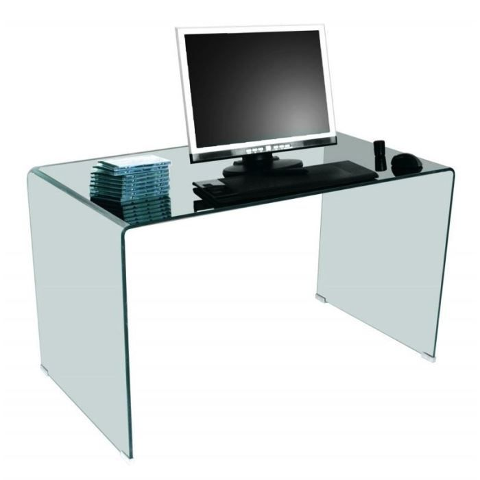 Side bureau en verre tremp transparent design achat vente bureau side bu - Bureau en verre design ...