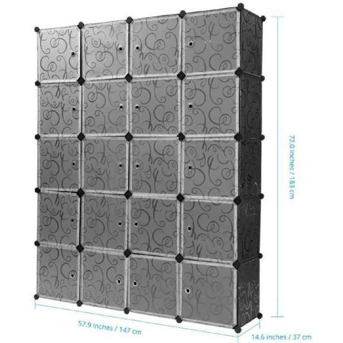 ARMOIRE DE CHAMBRE Armoire Penderie 20 Cubes LANGRIA Modulable Meuble