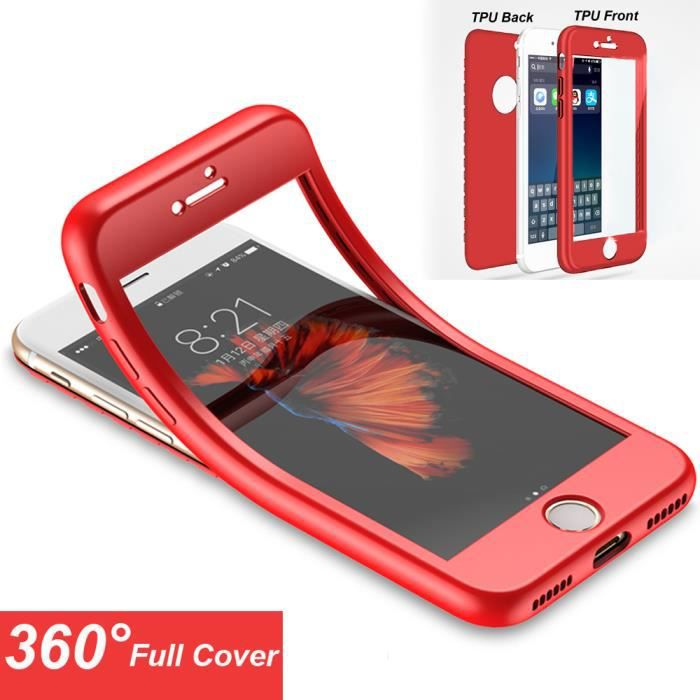 coque integrale iphone 6 rouge silicone verre tr