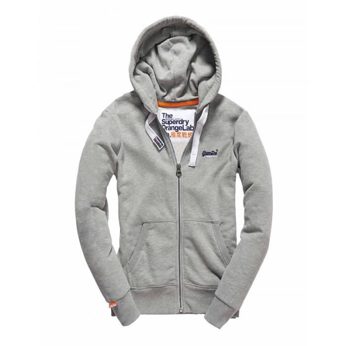 e6e533f7a025 Sweat zippé à capuche Superdry Orange Label Gris Gris - Achat ...