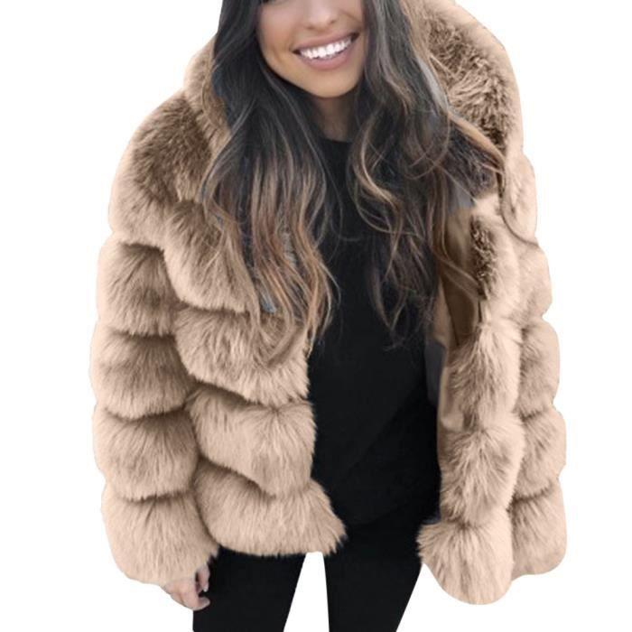 Veste en fausse fourrure pour femme en fausse fourrure d'hiver à capuche chaude et épaisse Kaki RR81106611KH