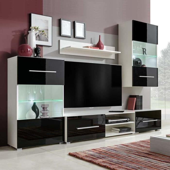 Meuble Tv Meuble Hi Fi Mural Contemporain 5 Pieces Salon Avec Eclairage Led Noir Et Blanc Achat Vente Meuble Tv Meuble Tv Meuble Hi Fi Mura Cdiscount