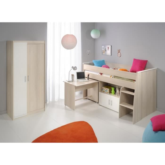 lit enfant sur lev combin acacia clair blanc 206 x 183. Black Bedroom Furniture Sets. Home Design Ideas