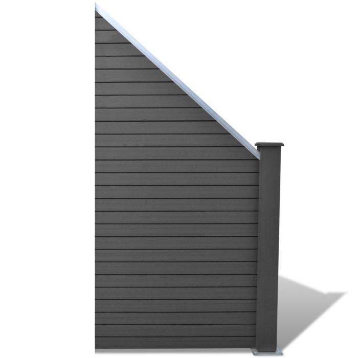 CLÔTURE - GRILLAGE Panneau de clôture design incliné en WPC Gris Haut