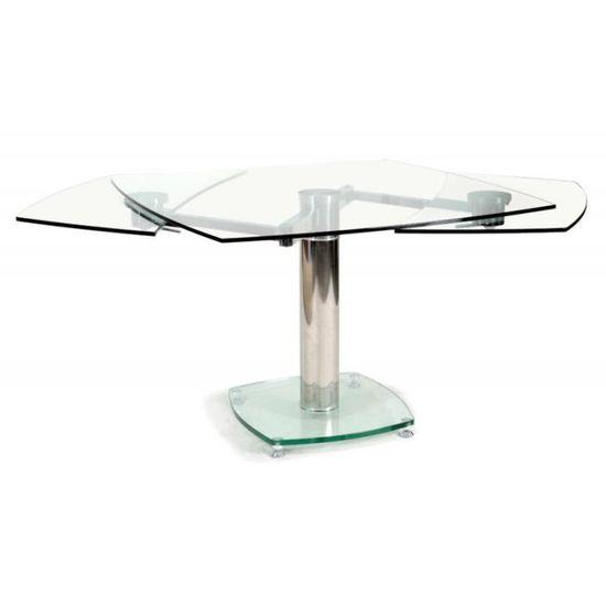 Table Carree Avec Allonges Plateau Verre Transparent Contempo