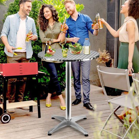 Deuba Table de Bar Haute 2en1 alu Hauteur réglable et ...