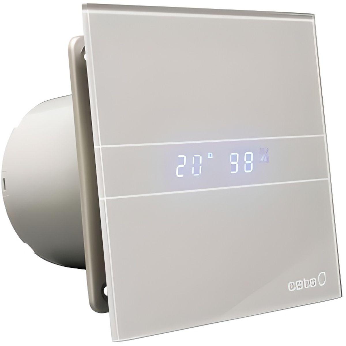 Aérateur extracteur salle de bain E-16 Glass Silver Timer Hygro CATA