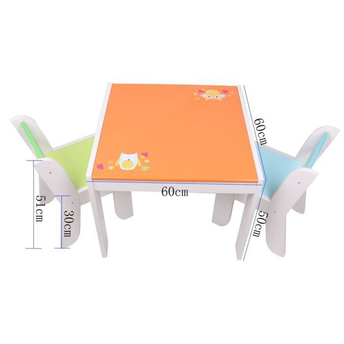 Labebe table et 2 chaises enfant motif de h risson hibou for Table et chaise bebe 2 ans