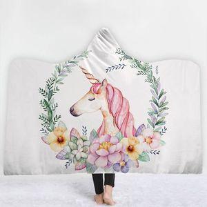 COUVERTURE - PLAID Licorne Couverture à capuche,Impression Basket-Bal