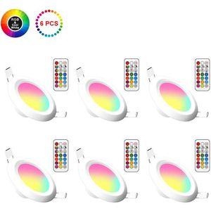 SPOTS - LIGNE DE SPOTS 6pcs LED Spots Encastrables Ampoule RGB Couleur Ch