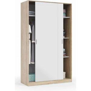 ARMOIRE DE CHAMBRE Armoire avec 2 portes coulissantes coloris blanc -