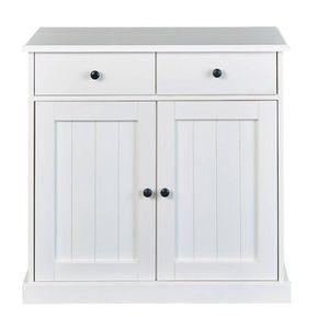 BUFFET - BAHUT  Bahut 2 portes 2 tiroirs en bois massif laqué blan