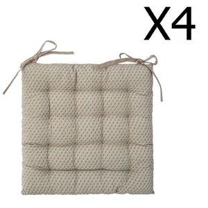 COUSSIN DE CHAISE  Lot de 4 Galettes de chaise lin à motifs - 38 x 38