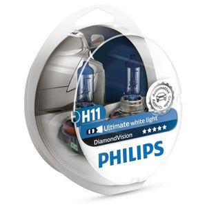 AMPOULE TABLEAU BORD Philips Lot de 2 ampoules de phare H11 Diamond Vis