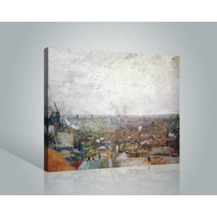 vincent van gogh poster reproduction sur toile tendue sur ch ssis vue sur paris de montmartre. Black Bedroom Furniture Sets. Home Design Ideas