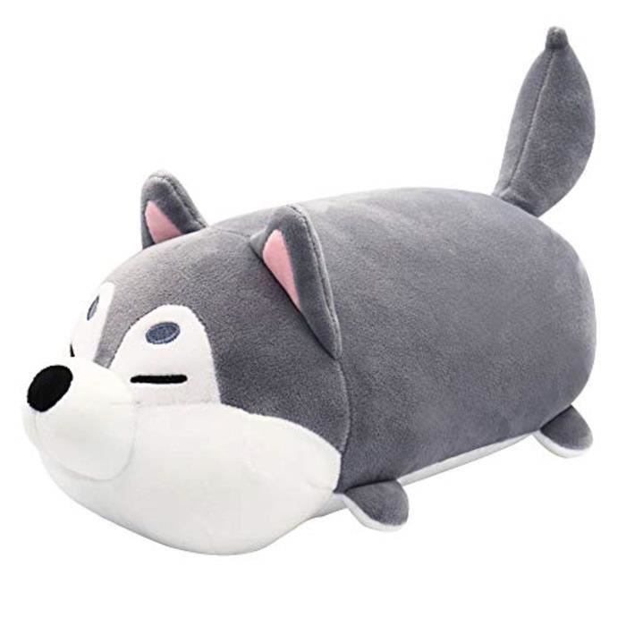 Peluche URK2H Stuffed Animal Pillow, Husky Dog Plush, Super Soft Plush Cuddle Pillow Plush Toy for Girl, Gray 11