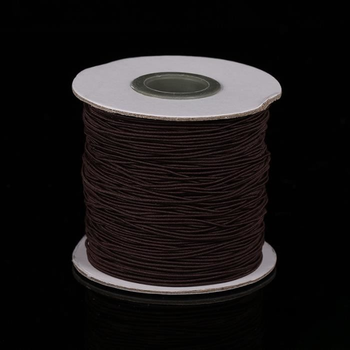 brown -Cordon élastique rond de 1mm, perles, fil extensible, ficelle, corde pour la fabrication de colliers, bracelets, bijoux, Z64