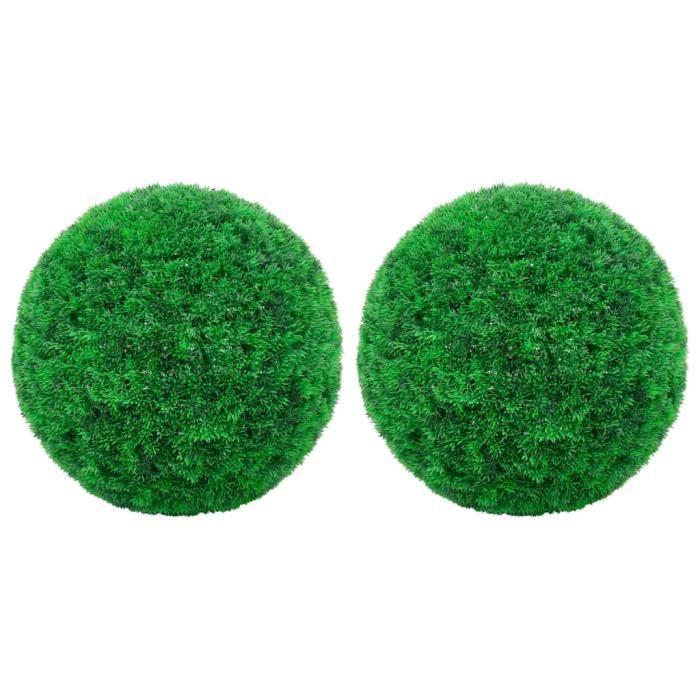 Meuble1785Lot de 2 Boules de buis artificielles Plante Artificielle intérieur-Extérieur Style Moderne Pour Décor Maison Meuble 35 cm