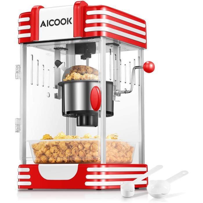 Machine à Popcorn, AICOOK Chaud Beurre Machine à Pop Corn avec Rétro Lumière, Revêtement Antiadhésif, Système de Mélange, Plateau de