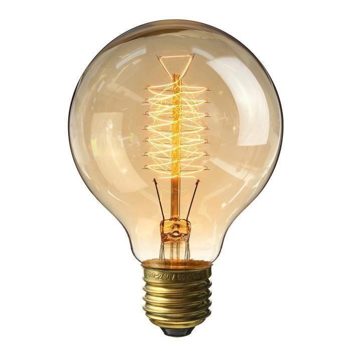 E27 Edison Ampoules à Incandescence G80 60W 220V Globe Lampe Filament vintage [Classe énergétique E] MC21233