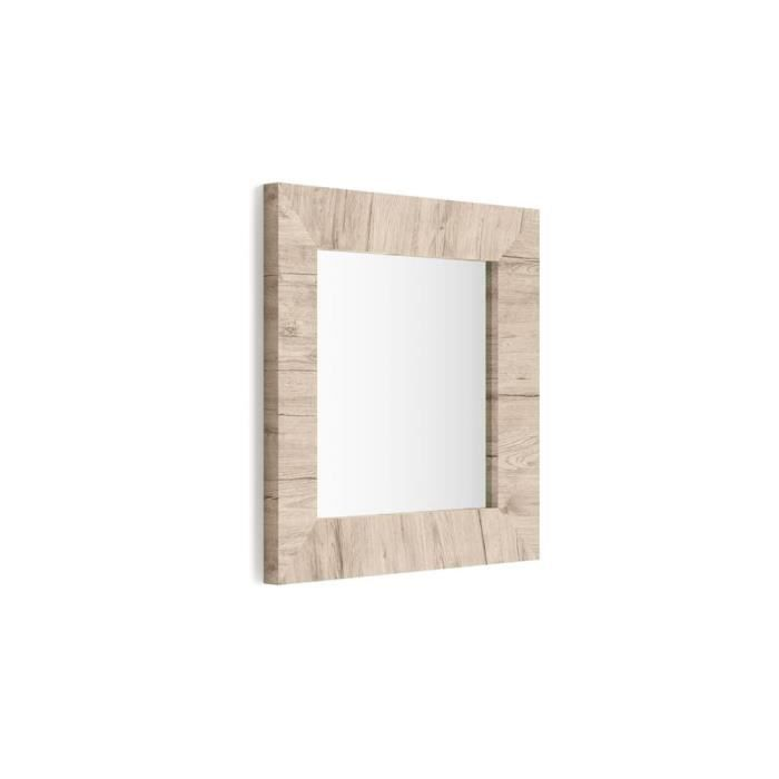 Mobili Fiver, Miroir mural carré, cadre Chêne naturel, Giuditta 65x65, Mélaminé/Verre, Made in Italy