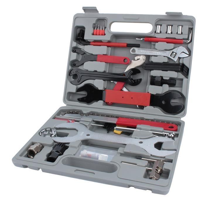 44pcs kit de réparation de vélo multi-outils ensemble VTT Cycle pompe de pneu de crevaison -QUT