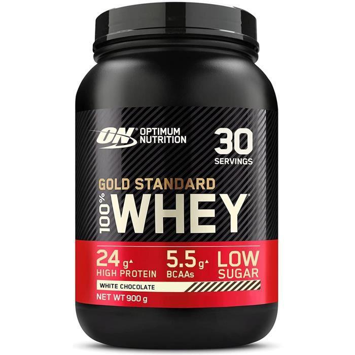 Gold Standard 100% Whey Protéine en Poudre avec Whey Isolate Proteines Musculation Prise de Masse Chocolat Blanc 30 Portions 0.9kg