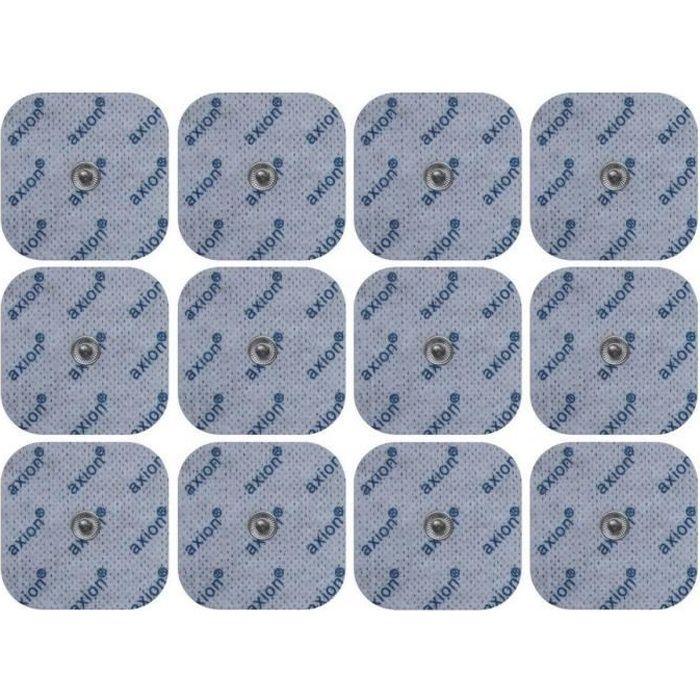 Sanitas/Beurer - 12 électrodes 45x45 mm compatibles Sanitas SEM 40/41/42/43/44 et Beurer EM40/41/49/80 TENS-EMS - Connecteurs snap