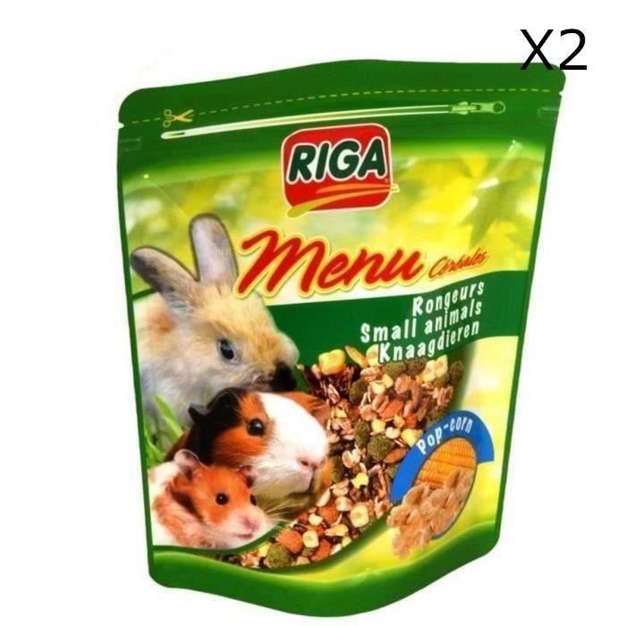 RIGA Menu Céréales Pop-corn pour rongeurs 2 x 500g