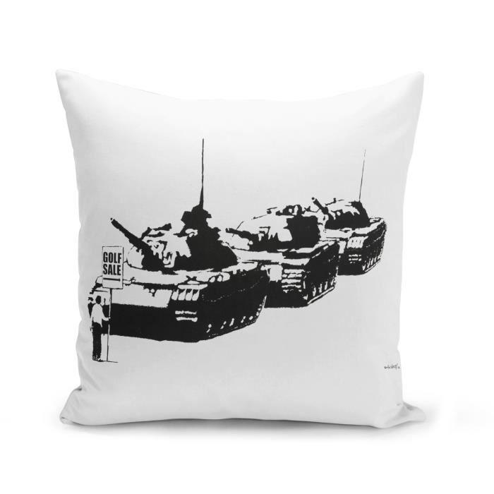 Housse de Coussin 40x40 cm Banksy Golf For Sale Tank Tiananmen Chine Street Art