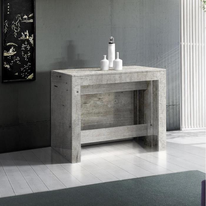Table console extensible 12 couverts LONGO 300 cm finition béton avec 5 allonges intégrées gris Beton Inside75