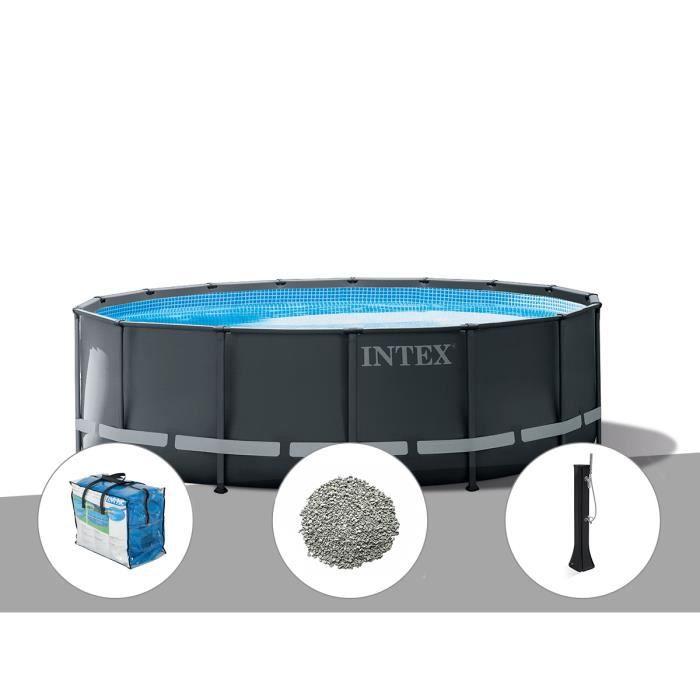 Kit piscine tubulaire Intex Ultra XTR Frame ronde 4,88 x 1,22 m + Bâche à bulles + 20 kg de zéolite + Douche solaire