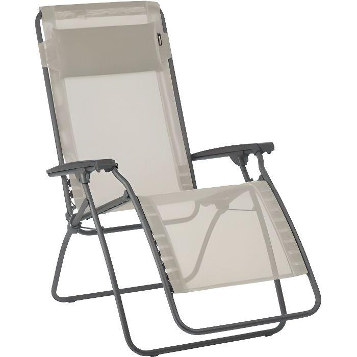 Chaise longue relax pliante multiposition en acier et toile Batyline R CLIP beige