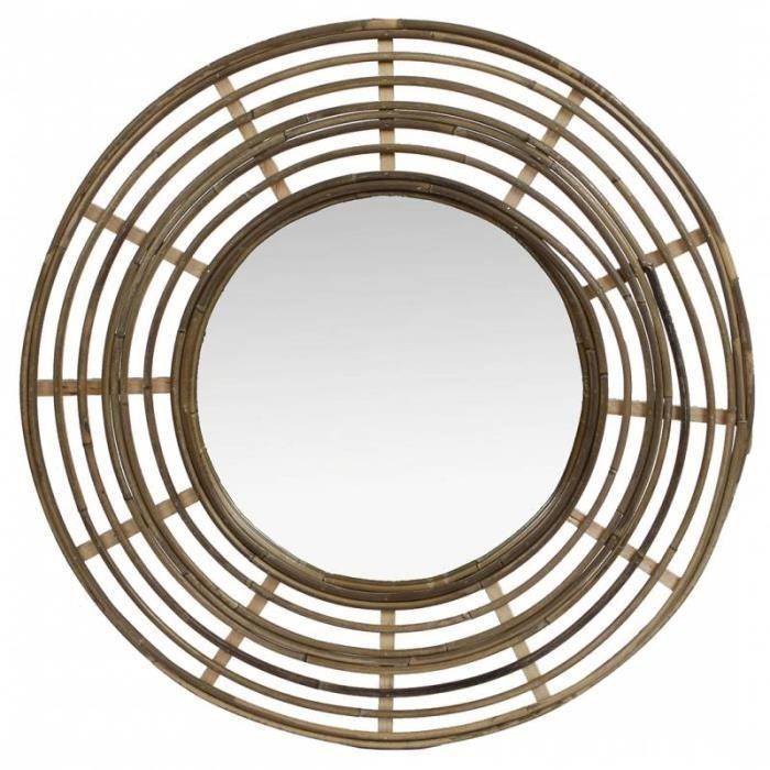 Miroir Tendance en Rotin Grande Glace Décorative Ronde Design 3x54,5x54,5cm 54,5 Naturel