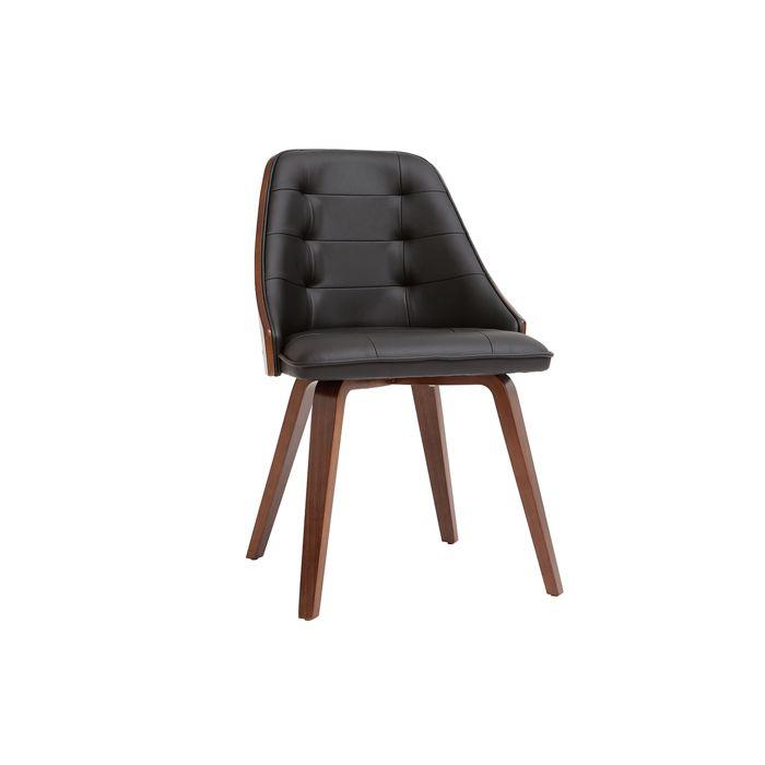 Miliboo - Chaise design bimatière noir et bois foncé FLUFFY