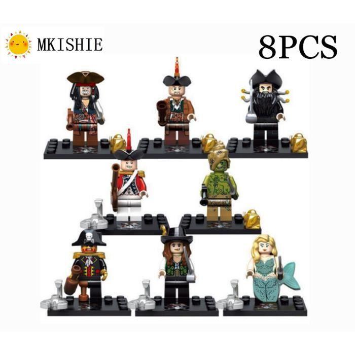 Pirates des Caraïbes Figurine, Educatif Jouets Cadeau Noël Anniversaire Figurines pirate Blocs de Construction Enfants