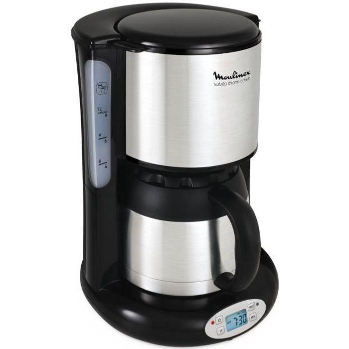 MOULINEX FT362811 Cafetière filtre avec verseuse isotherme SUBITO - Programmable - 8 à 12 tasses - Noir et Inox