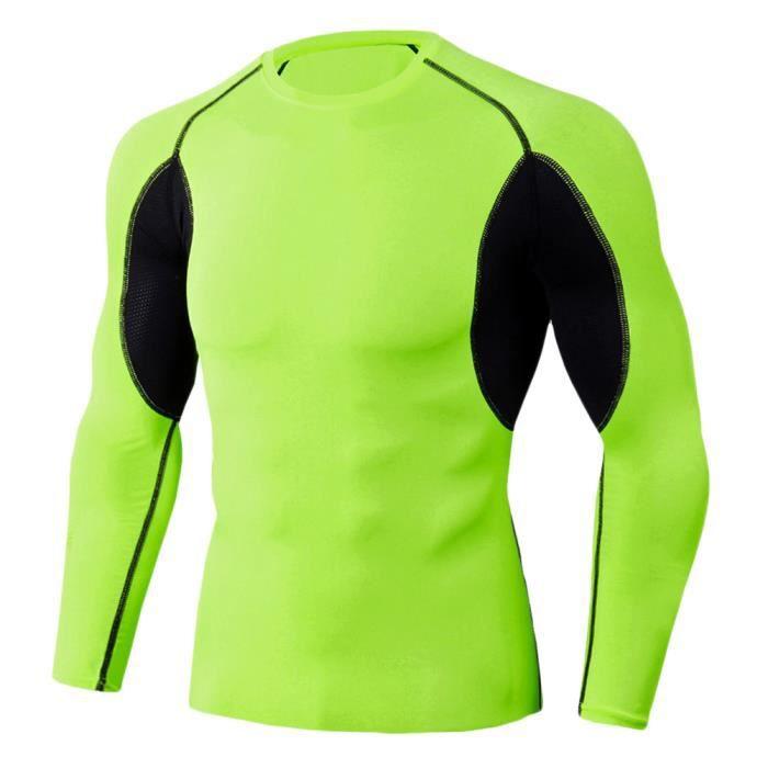 Tee Shirt De Sport Pour Homme Manches Longues Haut De Compression Base Layer Séchage Rapide TC87 2XL