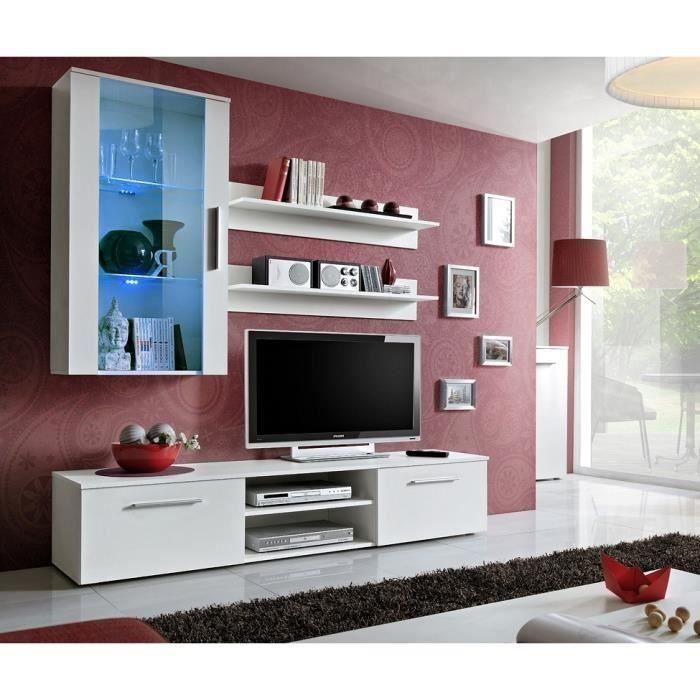 Meuble TV GALINO E design, coloris blanc mat. Meuble moderne et tendance pour votre salon. 30 Blanc