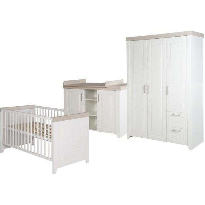 ROBA Ensemble de meubles bébé -Felicia-, lit bébé 70x140 cm, commode à langer, et armoire, blanc